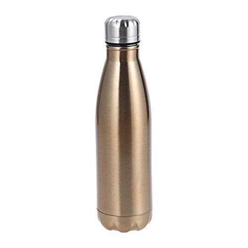 bestonzon 500ml Outdoor Sports Radfahren Camping Edelstahl Wasser Flasche Fläschchen mit Reinigungsbürste (Golden)