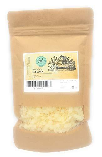 Weiße Bienenwachs Perlen 500g - 100% natürlich, für DIY Lippenbalsam, Verwendung in Lotionen, Cremes, Balsam, Körperbutter, Seifen und zur Kerzenherstellung
