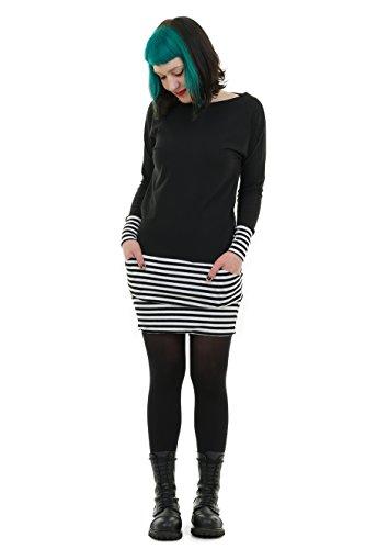 3Elfen Rockabilly Kleider Damen mit Taschen/Cooles Langarm Kleid mit Mini Rock Sweat Shirt Kleid...