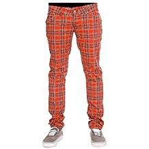 Run & Fly tela escocesa cuadros elástico pantalones de Skinny Jeans Rojo