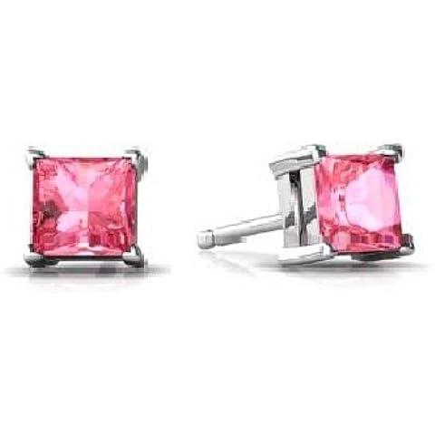 2 Ct creado zafiro rosa 925 pendientes del perno prisionero del corte de la princesa. Plata de ley con rodio acabado