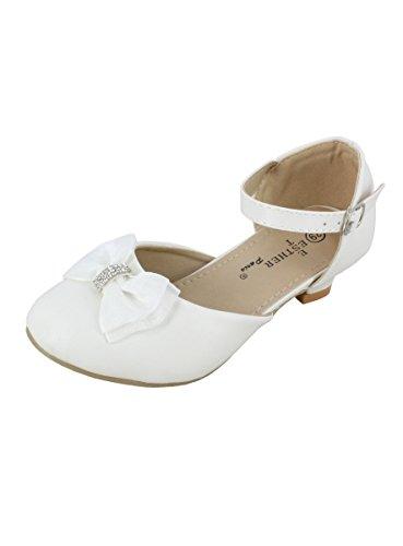 Boutique-Magique Ballerines Filles à Talons pour Mariage, Communion Et Baptême - Blanc - 27