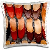 Markets - Tunisia, Ksour, Tataouine, Market babouches slippers 16x16 inch Pillow Case