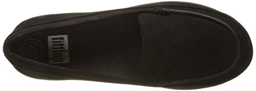 FitFlop F-Sporty Loafer Nubuck, Mocassins Femme Noir (noir)