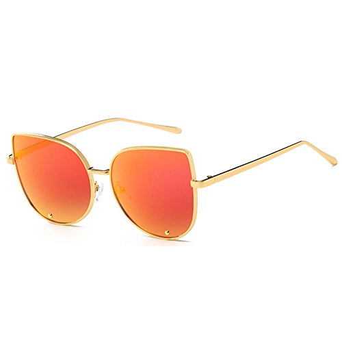 hibote Femme Homme Metal Lunettes de soleil Uv400 Miroir Lentes Or/mercure Rouge