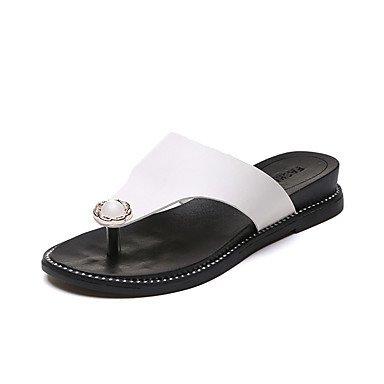 zhENfu donna pantofole & amp; flip-flops Primavera Estate Comfort PU Casual tacco piatto White