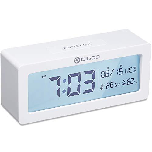 Digital Wecker, DIGOO Alarm Clock Digitaluhr Tischuhr Snooze mit Thermo-Hygrometer, große LCD-Ziffern Hintergrundbeleuchtung Schlummerfunktion Batteriebetrieben Energieeffizient ohne ticken Weiß