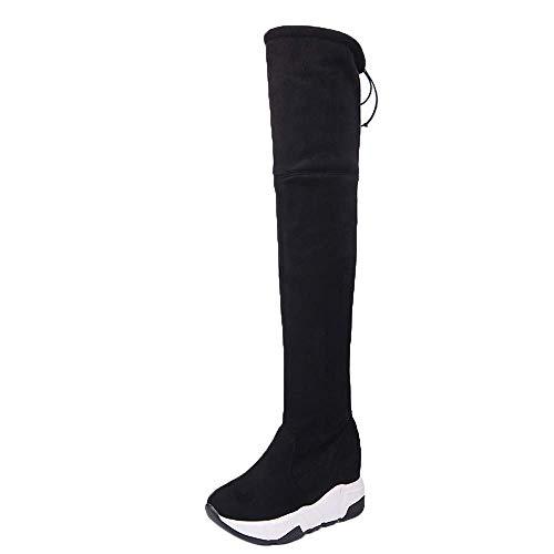 Hinteren Ferse (HhGold Frauen Stiefel, Frauen Hintere Krawatte Ferse Warme Stiefel Schlauch Stiefel Lange Stiefel Knie Plattform Stiefel Europäischen Ins Stil Schuhe Freizeitschuhe)