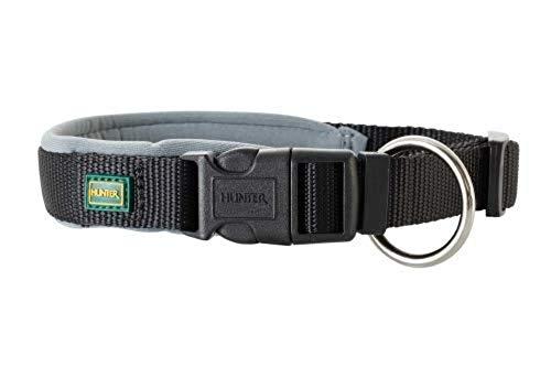 HUNTER NEOPREN VARIO PLUS Halsung, Hundehalsband, Nylon, mit Neopren gepolstert, 55/2,5 (L), schwarz/grau