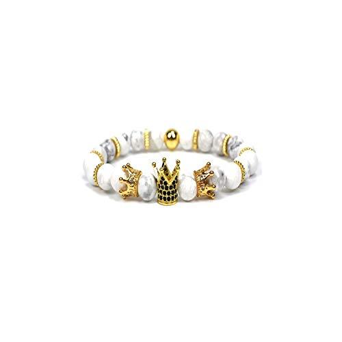 Awertaweyt Edelstein Perlen Armband King Crown Charm Bracelets for Women Natural Stone Beads Bracelet Men Jewelry Pulseira Masculina Feminina Bileklik Gold 3 7.5 inch M - Clip Rosenkranz