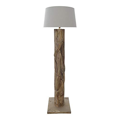 dasmöbelwerk XXL Stehlampe Leuchte massiv Teak Große Treibholz Lampe mit Schirm creme
