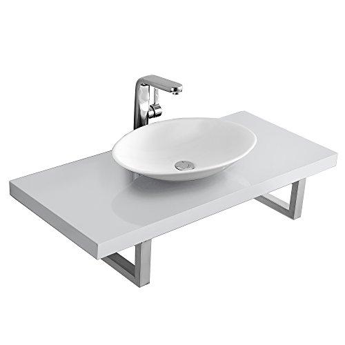 [neu.haus] Waschtischplatte Waschtischkonsole mit Keramik Aufsatzwaschbecken Set weiß Hochglanz