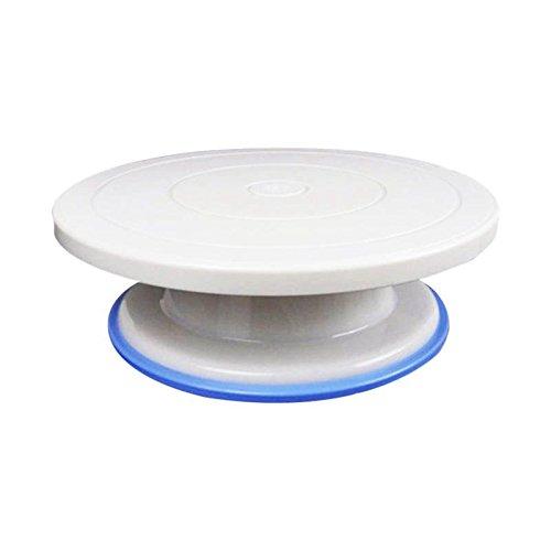 TOOGOO 11 pouces plateau tournant de gateau, plateau tournant de decoration avec anneau en caoutchouc - blanc