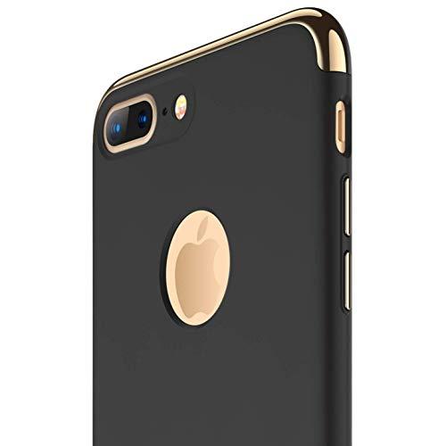 RANVOO Kompatibel mit iPhone 7 Plus Hülle, Dünn Hart Leicht 3-Teilig Stylich Hochwertig Stoßfest Slim Thin Hard Case Cover Schutzhülle Schale Handy Hülle, Schwarz [3 in 1 Apple Logo Sichtbar]