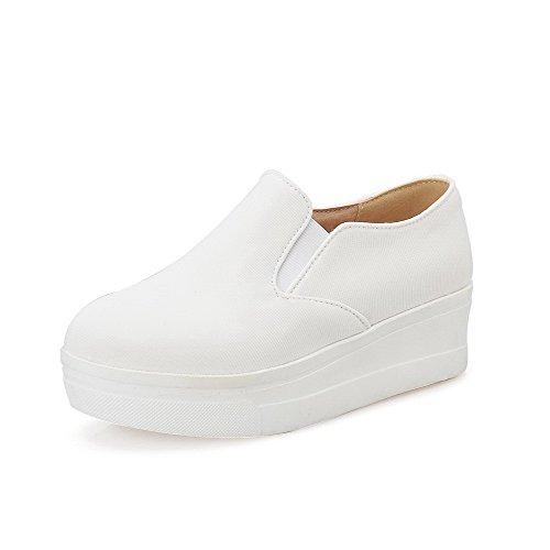 AllhqFashion Damen Gewebe Niedriger Absatz Rund Zehe Rein Ziehen Auf Pumps Schuhe Weiß