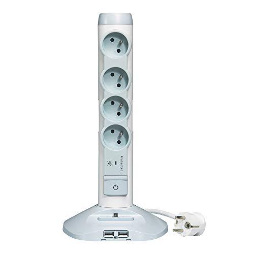 Legrand – Rallonge Multiprise et USB Verticale avec Parafoudre Intégré - Blanc/Gris - 050014