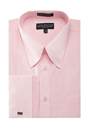 Sunrise Outlet Men's French Cuff Pat Riley Collar Dress Shirt Pink