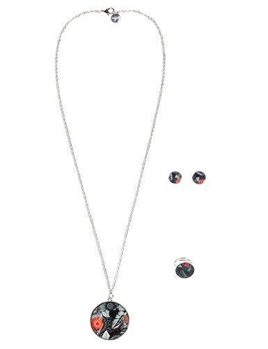Desigual - Parure collier pendentif, boulces d'oreille et bague multicolor pour Femme