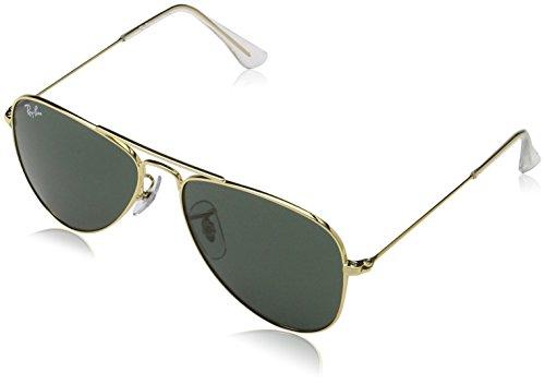 RAYBAN JUNIOR Unisex Sonnenbrille Aviator Junior, (Gestell: Gold, Gläserfarbe: grün klassisch 223/71), Small (Herstellergröße: 50)