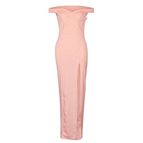 Oyedens Donna Gonna Moda Vestito Da Spalla Senza Maniche Cocktail Dividere La Forchetta Saltuario Vestito Rosa