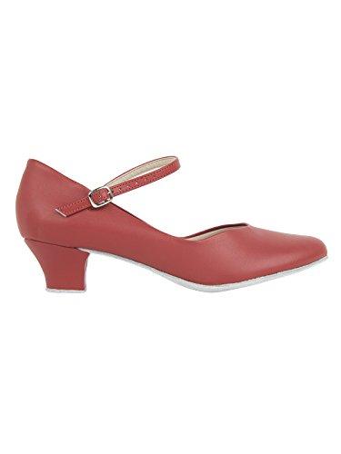 So Danca CH791 Charakterschuhe Damen Latein Salsa Rumba Trachten Tango Tanz Schuhe mit Chromledersohle, Weite M, Absatz 4 cm - mit Gratis Ansteck Button, Rot, 38 EU