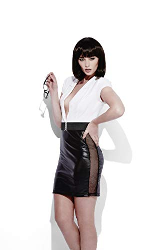 Sekretär Kostüm - Smiffy's 44469L - Fever Rollenspiel Sekretär im Wet-Look-Kostümes mit Dress und Gürtel