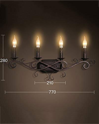 3 Kerze Wandleuchte (HTL Dekorative Nachtlampe-Industrielle Wind Village Doppelkopf Retro Wohnzimmer Schlafzimmer Restaurant Licht Kreative Bett Kopf Eisen Kerze Wandleuchte,3)