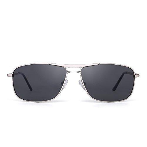 JIM HALO Polarisiert Rechteck Sonnenbrille Fahren Leicht Gewichts Federscharnier Rahmen Dame Herre Blaue Flim-Beschichtung Grau