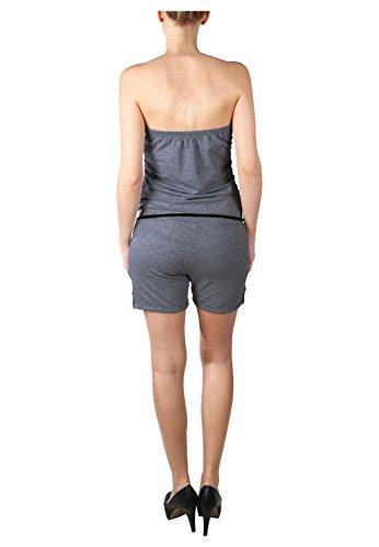 Stitch & Soul Damen Bandeau Jumpsuit | Kurzer Overall | Sexy Einteiler aus bequemen Jersey Material Dark Grey