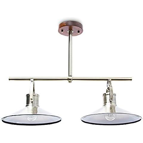 Relaxdays 10018901 - Lámpara de techo, 2 bombillas, antideslumbrante, 1.7 Kg, Base de Madera, Zocalo: