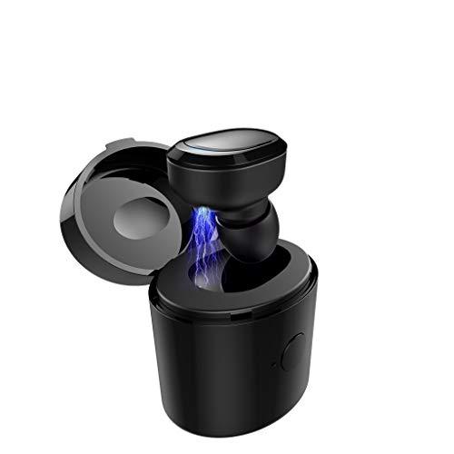 Preisvergleich Produktbild 88AMZ V12 drahtlose Bluetooth 5V.0 Earbuds,  Einzelohr-Kopfhörer, Wireless Headset In-Ear HeadsetErgonomisch gewinkelten Ohrstöpsel300 mAh Portable Mini Ladekästchen für Büro / Fahren / Gym(Black)