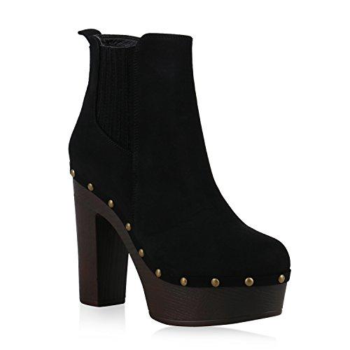 Damen Stiefeletten Plateau Boots 70s High Heels Blockabsatz Nieten Schwarz