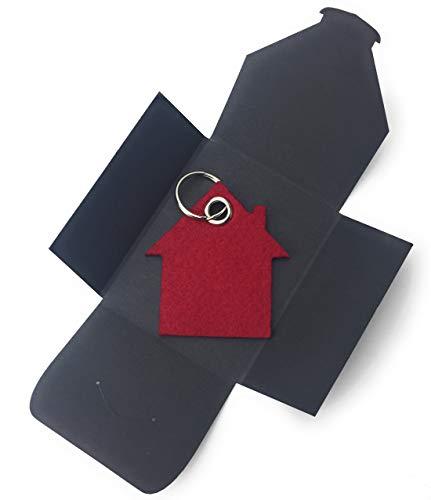 aus Filz - Haus - bordeaux/dunkel-rot/wein-rot - als besonderes Geschenk mit Öse und Schlüsselring - Made-in-Germany ()