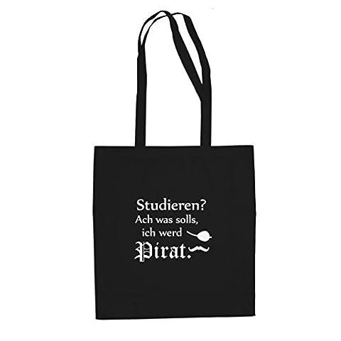Ich werd Pirat - Stofftasche / Beutel, Farbe: schwarz (Piraten Ideen Kostüme)