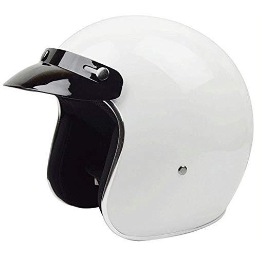 Exklusive Anpassung Einfarbig Fiberglas Helm Racing Roller Halbe Helm Männer Und Frauen Mode Persönlichkeit Retro Harley Helm Vier Jahreszeiten Sicheres Fahren (Farbe : White, Size : M)