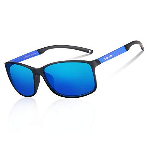 Queshark Polarisierte Sonnenbrille Ultraleichter TR90 Rahmen Sport Sonnenbrille für Skifahren Golf Laufen Radfahren Design für Herren und Damen mit Sport-Stirnband (Blaue Linse mit blauem Rahmen)