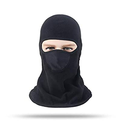 Balaclava Aegend Windproof Ski Face Mask Winter Motorcycle Neck Warmer Tactical Balaclava Hood Polyester Fleece for Women Men Youth Snowboard Cycling Hat Outdoors Helmet Liner Mask-Black, 1 Piece by Nideen