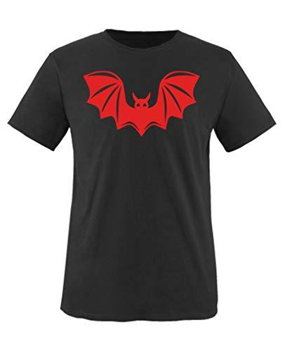 Comedy Shirts - Halloween Fledermaus - Mädchen T-Shirt - Schwarz/Rot Gr. 152-164 (Fledermaus-geschichte Kinder Für Halloween)