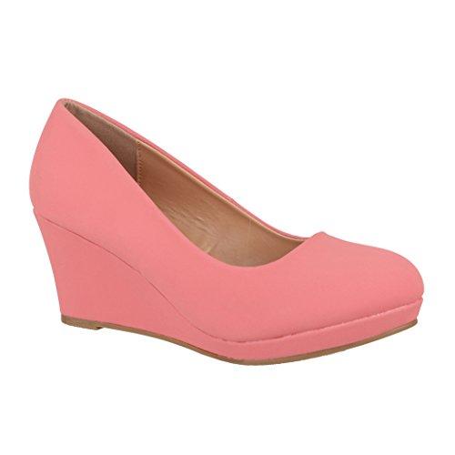 Elara Damen Pumps Keilabsatz Wedges Schuhe mit Plateau |Chunkyrayan B8011 Pink-40 (Frauen Wedges Für Pink Schuhe)
