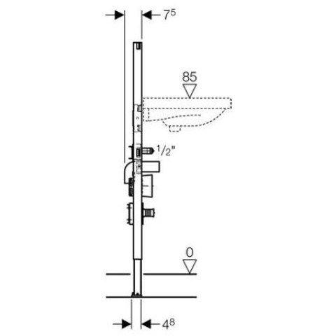 Geberit Duofix Waschtisch, 112 cm, mit UP-Ventil- und WZ-Set, für Einlocharmatur 111.465.00.1