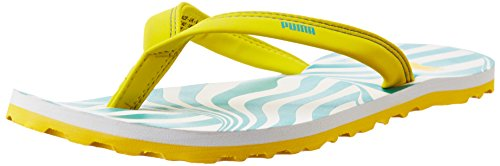 Puma Women's Charon DP White, Atlantis and Buttercup Rubber Flip Flops Clogs and Mules - 6 UK/India (39 EU)  available at amazon for Rs.388