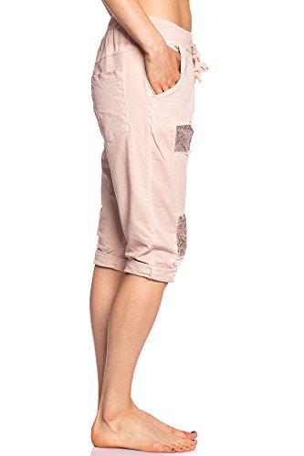Abbino IG001 Kurze Hosen Damen Frauen - Made in Italy - Viele Farben - Attraktiv Trend Übergang Herbst Winter Festlich Lässig Charme Elegant Sale Warm Modisch Komfortabel Junge Schöner Rosa (Art. 1607)