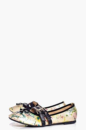 Bailarinas E Rendas Laço impressão Floral Senhoras Ouro Sophie Bdxq7nw8Z