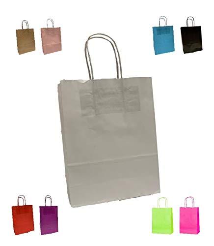 Packitsafe Papiertüten mit gedrehtem Griff - A4 Größe Medium Geschenktüten 24 x 11 x 31 cm - verschiedene Farben und Mengen weiß