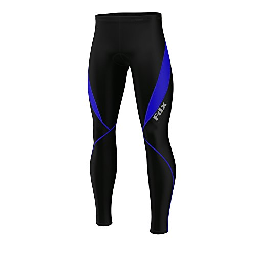 FDX Mens Cycling Tights Winter Thermal Cold Wear Padded Legging Cycling Trouser (Black/Blue, Medium)