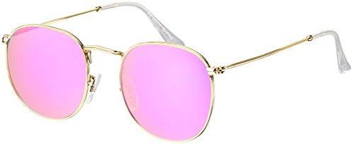 Sonnenbrille La Optica UV 400 Schutz Damen Frauen Retro Rund - Gold Rahmen (Gläser: Rosa/Pink verspiegelt)
