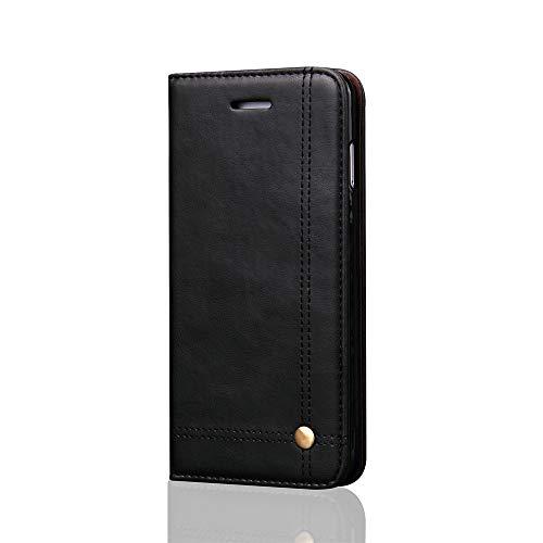 BSLY Funda de Piel para iPhone X iPhone XS, [Ranura para Tarjeta] [Cierre Magnético] [Soporte Plegable] Interior de TPU Suave Cubierta Cartera Tapa de Libro de Cuero - Negro