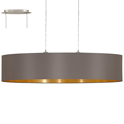 EGLO 31619 Hängeleuchte Maserlo Nickel-Matt Schirm, cappucino / gold stahl, 100 cm
