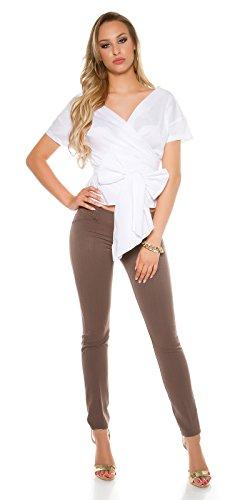 Koucla Damen Stoffhose Skinny Hose Business Büro Stretch elegant Anzugshose S 32 34 36 Cappucino