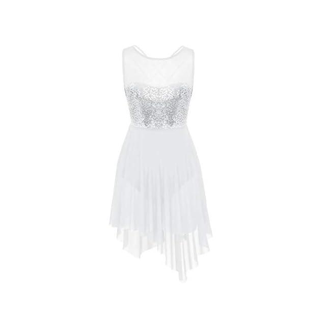 b4613b0ff2bf6 dPois Femme Robe de Ballet Justaucorps de Danse Classique Gymnastique Tutu  Robe à Paillettes Bretelle Robe ...